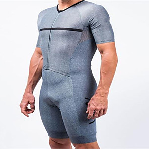 cheap Cycling Jersey & Shorts / Pants Sets-21Grams Men's Short Sleeve Triathlon Tri Suit Blue / White Bike Clothing Suit UV Resistant Breathable Quick Dry Sweat-wicking Sports Solid Color Mountain Bike MTB Road Bike Cycling Clothing Apparel