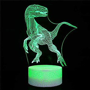 cheap 3D Night Lights-Crack section / Amazon explosion models / home dinosaur 3d night light / led colorful lights / usb powered bedside creative / gift table lamp