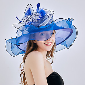 cheap Historical & Vintage Costumes-Queen Elizabeth Audrey Hepburn Retro Vintage Kentucky Derby Hat Fascinator Hat Women's Organza Costume Hat Black / White / Orange Vintage Cosplay Party Party Evening