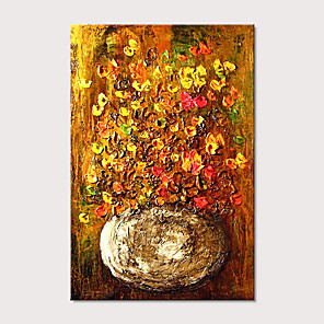 cheap Still Life Paintings-Oil Painting Hand Painted - Still Life Floral / Botanical Modern Stretched Canvas