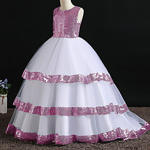 cheap Movie & TV Theme Costumes-Princess Dress Flower Girl Dress Girls' Movie Cosplay A-Line Slip Cosplay Pink / Silver Dress Halloween Carnival Masquerade Polyester Sequin