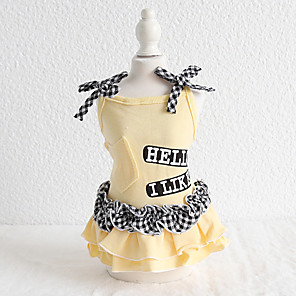 cheap Dog Clothes-Dog Costume Dress Dog Clothes Breathable Yellow Birthday Costume Beagle Bichon Frise Chihuahua Cotton Plaid / Check Quotes & Sayings Bowknot Casual / Sporty Cute XS S M L XL