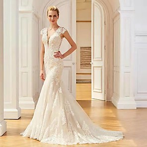 cheap Party Sashes-Mermaid / Trumpet Wedding Dresses V Neck Sweep / Brush Train Lace Regular Straps Country with 2020