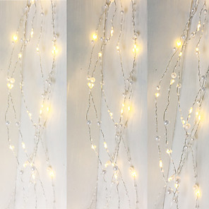 cheap LED String Lights-1PCS Battery Operated Pearl LED Copper Wire String Lights Pearlized Fairy Holiday Lights for Wedding Home Party Christmas Decorations 5M 50Leds