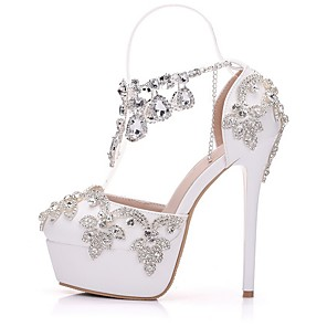 cheap Wedding Shoes-Women's Wedding Shoes Stiletto Heel Round Toe PU Spring & Summer White