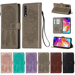 cheap Samsung Case-Case For Samsung Galaxy A30/A50/A20 Wallet / Card Holder / with Stand Full Body Cases Solid Colored / Feathers PU Leather For Galaxy A30S/A50S/A40/A60/A70/A80/A90