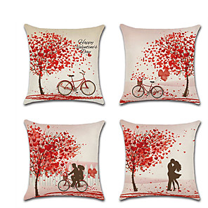 cheap Throw Pillow Covers-Set of 4 Linen Pillow Cover Romantic Valentine's Day Lovers Wedding Throw Pillow45*45 cm