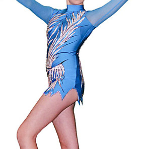 povoljno Odjeća za fitness, trčanje i jogu-Triko za ritmičku gimnastiku Trikoi za ritmičku gimnastiku Žene Djevojčice Triko za vježbanje Plava Spandex Visoka elastičnost Prozračnost Ručno izrađen Jeweled Izgled dijamanta Dugih rukava Trening