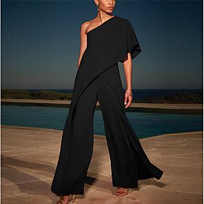 cheap Maxi Dresses-Women's Maxi Sheath Dress - Long Sleeve Solid Colored One Shoulder Elegant Slim White Black Blushing Pink Navy Blue S M L XL