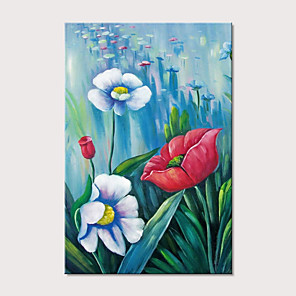 cheap Abstract Paintings-Oil Painting Hand Painted - Floral / Botanical Pop Art Modern Stretched Canvas