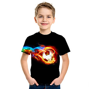 cheap Framed Arts-Kids Boys' Active Street chic 3D Funny Print Short Sleeve Tee Black