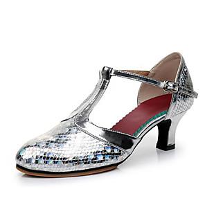 cheap Latin Shoes-Women's Dance Shoes Modern Shoes Heel Cuban Heel Customizable Gold / Silver / Brown / Performance / Practice