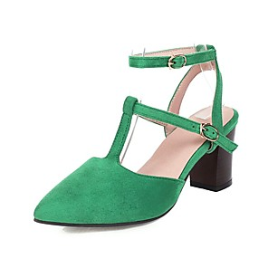 cheap Women's Heels-Women's Heels Chunky Heel Pointed Toe Buckle Synthetics Spring & Summer Black / Green / Red