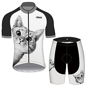 cheap Cycling Jerseys-21Grams Men's Women's Short Sleeve Cycling Jersey with Shorts Spandex Polyester Black / White Cat Animal Bike Clothing Suit UV Resistant Breathable 3D Pad Quick Dry Reflective Strips Sports Cat