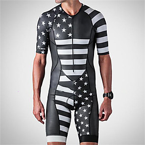 cheap Triathlon Clothing-21Grams Men's Short Sleeve Triathlon Tri Suit Black / White American / USA National Flag Bike Clothing Suit UV Resistant Breathable Quick Dry Sweat-wicking Sports Solid Color Mountain Bike MTB Road