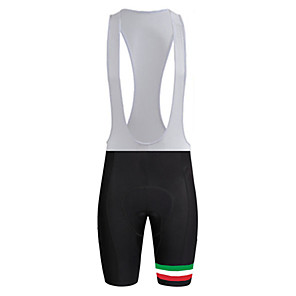 cheap Triathlon Clothing-21Grams Men's Cycling Bib Shorts Bike Bib Shorts Pants / Trousers Padded Shorts / Chamois Breathable 3D Pad Quick Dry Sports Italy National Flag Black / White Mountain Bike MTB Road Bike Cycling