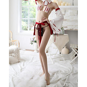 cheap Anime Costumes-Women's Backless Uniforms & Cheongsams / Suits Nightwear Solid Colored / Embroidered Red One-Size
