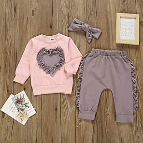 cheap Kids Collection Under $8.99-Baby Girls' Basic Color Block Long Sleeve Regular Clothing Set Purple / Toddler