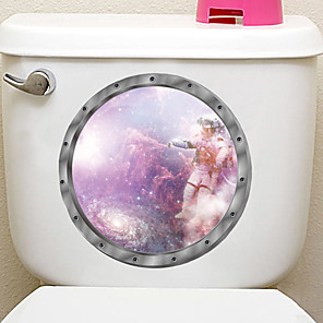 cheap Wall Stickers-Interstellar Space Style Toilet Seat Wall Sticker Art Bathroom Decals Decor PVC Removable Home Decor