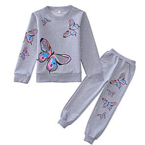 cheap Kids Collection Under $8.99-Kids Girls' Basic Geometric Long Sleeve Clothing Set Blushing Pink