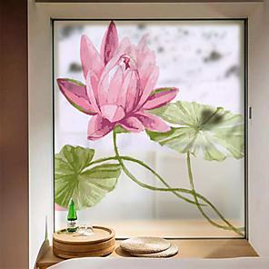cheap Wall Stickers-Big Pink Flowers Window Film & Stickers Decoration Matte / Floral Floral / Flower / Floral PVC(PolyVinyl Chloride) Matte Sticker / Window Sticker / Matte