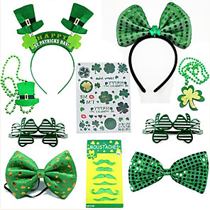 cheap Christmas Decorations-New Irish holiday party outfit st Patrick's day revel decorative hat bow tie beaded glasses sticker beard paste set 10 pieces