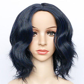 cheap Synthetic Trendy Wigs-Synthetic Wig Curly kinky Straight Asymmetrical Wig Short Blue Synthetic Hair 7 inch Women's Best Quality Blue
