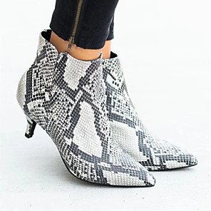cheap Women's Boots-Women's Boots Print Shoes Stiletto Heel Pointed Toe Animal Print Satin Booties / Ankle Boots Casual Walking Shoes Fall & Winter Black / Leopard / White