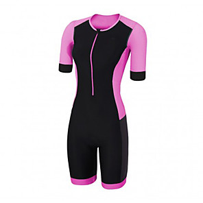 cheap Triathlon Clothing-21Grams Women's Short Sleeve Triathlon Tri Suit Pink / Black Bike Clothing Suit UV Resistant Breathable Quick Dry Sweat-wicking Sports Solid Color Mountain Bike MTB Road Bike Cycling Clothing Apparel