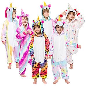 cheap Kigurumi Pajamas-Kid's Kigurumi Pajamas Unicorn Flying Horse Onesie Pajamas Flannelette Purple / Yellow / Pink Cosplay For Boys and Girls Animal Sleepwear Cartoon Festival / Holiday Costumes