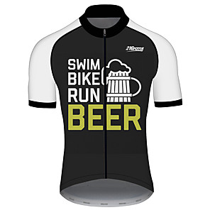 cheap Cycling Jerseys-21Grams Men's Short Sleeve Cycling Jersey Black / White Oktoberfest Beer Bike Jersey Top Mountain Bike MTB Road Bike Cycling UV Resistant Breathable Quick Dry Sports Clothing Apparel / Stretchy