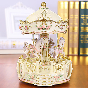cheap Music Boxes-Music Box Carousel Music Box Classic Unique Resin Women's Unisex Girls' Kid's Adults Kids Adults' Graduation Gifts Toy Gift