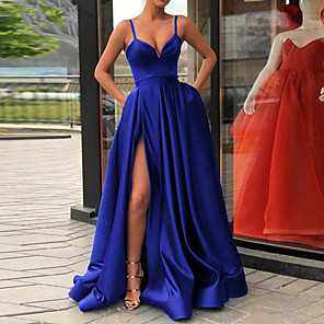 cheap Bridesmaid Dresses-A-Line Sexy Red Quinceanera Formal Evening Dress V Neck Sleeveless Sweep / Brush Train Jersey with Pleats Split Front 2020