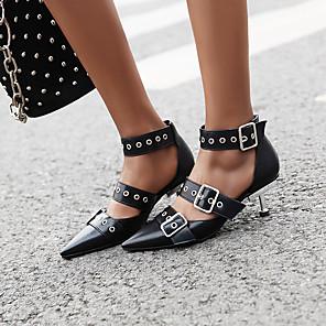 cheap Women's Boots-Women's Sandals Stiletto Heel Pointed Toe Buckle PU Vintage / Minimalism Spring & Summer Black / White / Party & Evening