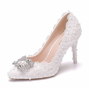 cheap Wedding Shoes-Women's Wedding Shoes Stiletto Heel Pointed Toe PU Spring & Summer White