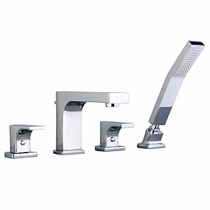 cheap Bathtub Faucets-Bathtub Faucet - Contemporary Chrome Roman Tub Brass Valve Bath Shower Mixer Taps / Two Handles Four Holes
