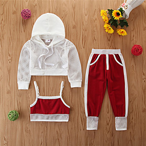 cheap Mosquito Repellent-Toddler Girls' Basic Casual Solid Colored Long Sleeve Regular Regular Clothing Set White