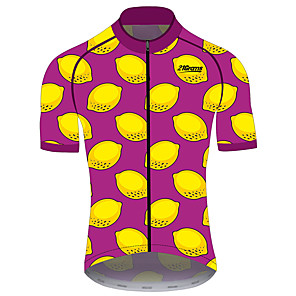 cheap Cycling Jerseys-21Grams Women's Short Sleeve Cycling Jersey Red / Yellow Fruit Lemon Bike Jersey Top Mountain Bike MTB Road Bike Cycling UV Resistant Breathable Quick Dry Sports Clothing Apparel / Stretchy