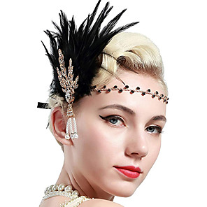 cheap Historical & Vintage Costumes-Charleston Vintage 1920s The Great Gatsby Flapper Headband Women's Feather Costume Black / Golden / White Vintage Cosplay Festival
