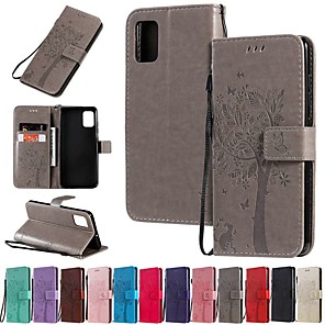 cheap Samsung Case-Case For Samsung Galaxy Galaxy A50(2019) / Samsung Galaxy A90(2019) / Galaxy A2 Core Wallet / Card Holder / with Stand Full Body Cases Solid Colored / Tree PU Leather
