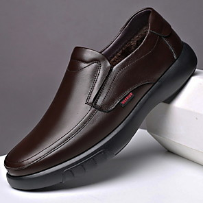 cheap Clutches & Evening Bags-Men's Comfort Shoes Leather Fall & Winter Loafers & Slip-Ons Black / Brown