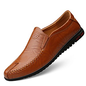 cheap Men's Slip-ons & Loafers-Men's Comfort Shoes Summer / Fall Daily Loafers & Slip-Ons Cowhide Light Brown / Dark Brown / Black