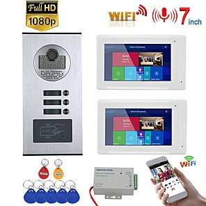 cheap Video Door Phone Systems-7inch Record Wired Wifi Video Intercom 2 Apartments with 2 Family RFID Doorphone System IR-CUT HD 1080P Doorbell Camera