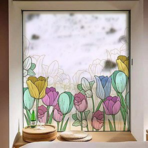 cheap Wall Stickers-Tulips Window Film & Stickers Decoration Matte / Floral Floral PVC(PolyVinyl Chloride) Window Sticker / Matte / Door Sticker
