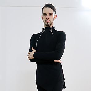cheap Latin Dancewear-Latin Dance Top Ruching Men's Performance Long Sleeve Crystal Cotton