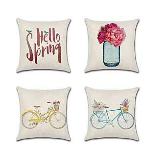 cheap Sale-4 pcs Linen Pillow Cover Holiday Cartoon Floral Print Lovers Wedding  Throw Pillow 45*45 cm