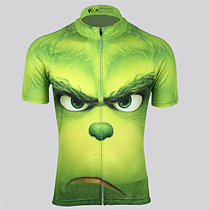 cheap Cycling Jerseys-21Grams Men's Women's Short Sleeve Cycling Jersey Spandex Polyester Green Cartoon Bike Jersey Top Mountain Bike MTB Road Bike Cycling UV Resistant Breathable Quick Dry Sports Clothing Apparel