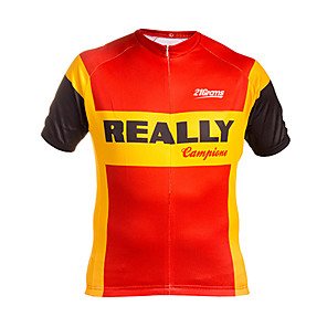 cheap Cycling Jerseys-21Grams Men's Short Sleeve Cycling Jersey Winter Red+Golden National Flag Bike Jersey Top Mountain Bike MTB Road Bike Cycling UV Resistant Breathable Quick Dry Sports Clothing Apparel / Stretchy