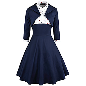 cheap Historical & Vintage Costumes-Audrey Hepburn Retro Vintage 1950s Wasp-Waisted Dress Women's Cotton Costume Ink Blue Vintage Cosplay Party Daily Wear Long Sleeve Midi / Top / Top