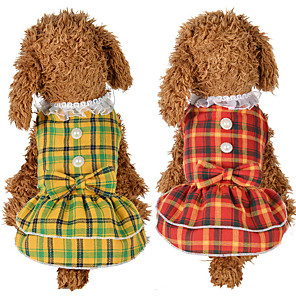 cheap Dog Clothes-Dog Cat Dress Dog Clothes Yellow Red Costume Husky Labrador Alaskan Malamute Polyester Cotton Plaid / Check Bowknot Leisure Sweet XS S M L XL